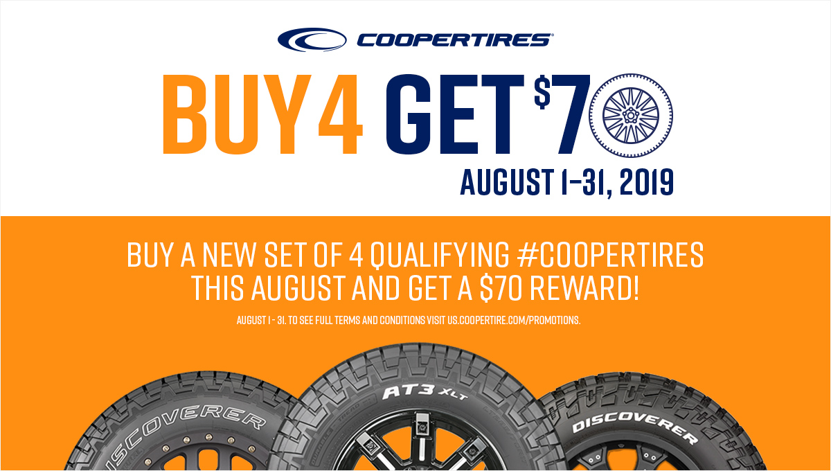 August Cooper Tire Promotion Scott's Tire and Service Center Port St. Lucie